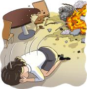 폭발시 보호 대처 관련 삽화