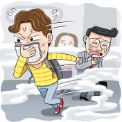 화학 테러시 대처 및 탈출 관련 삽화
